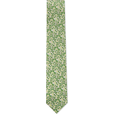 FERRAGAMO Leaves silk tie (Green