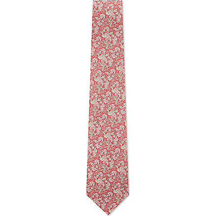 FERRAGAMO Leaves silk tie (Pink