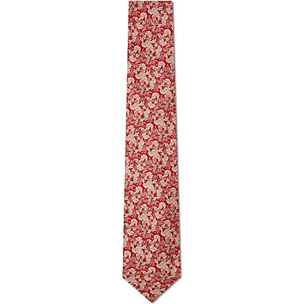 FERRAGAMO Leaves silk tie (Red