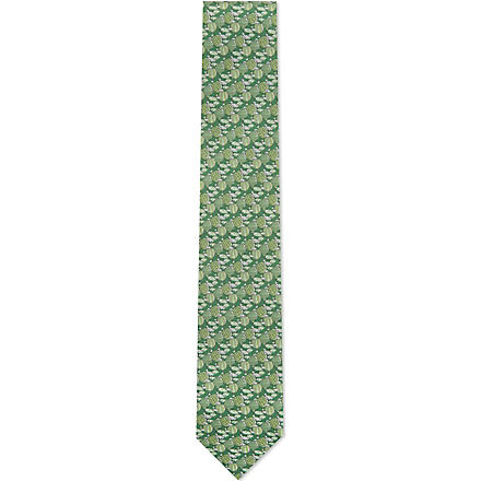 FERRAGAMO Hot air balloon silk tie (Green