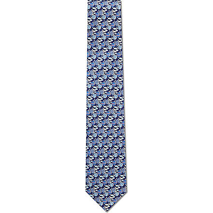 FERRAGAMO Hot air balloon silk tie (Navy