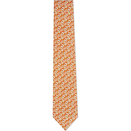 FERRAGAMO Hot air balloon silk tie (Orange