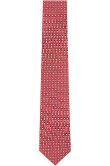 FERRAGAMO Gancino and flower silk tie