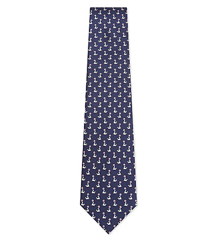 SALVATORE FERRAGAMO Seal and ball silk tie (Navy