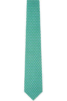 FERRAGAMO Mirrored gancino silk tie