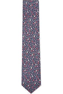 FERRAGAMO Rabbits and flowers silk tie