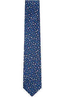 FERRAGAMO Owl and flowers silk tie