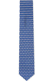 FERRAGAMO Big cat silk tie