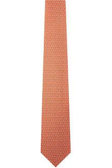 FERRAGAMO Leaf swirl silk tie