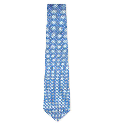 SALVATORE FERRAGAMO Vara printed silk tie (Light+blue
