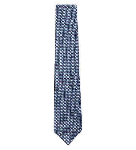 SALVATORE FERRAGAMO Vara printed silk tie (Navy