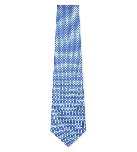 SALVATORE FERRAGAMO Linked Vara silk tie (Blue