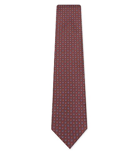 SALVATORE FERRAGAMO Jacquard Gancho silk tie (Bordeux