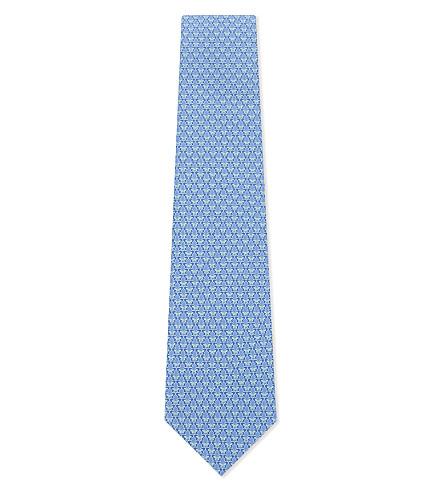 SALVATORE FERRAGAMO Butterfly print silk tie (F.azzurro/acqua