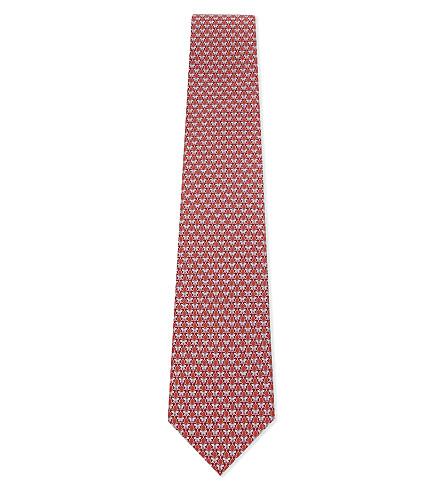 SALVATORE FERRAGAMO Butterfly silk tie (F.rosso/rosa