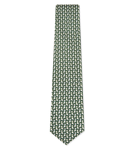 SALVATORE FERRAGAMO Sitting dog silk tie (Green