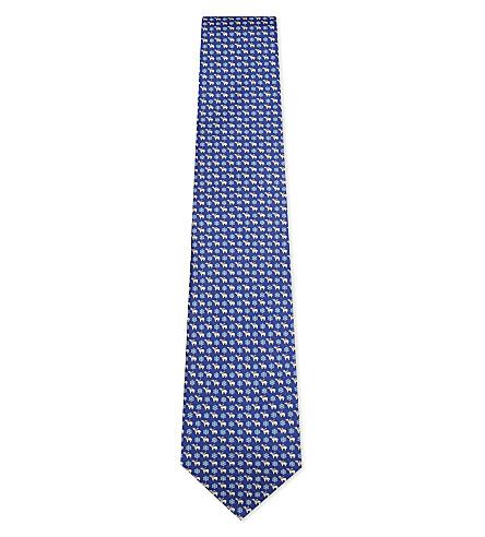 SALVATORE FERRAGAMO Polar bear and snowflake silk tie (Bright+blue