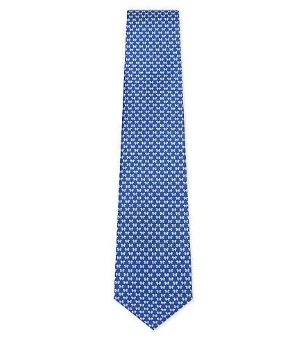 SALVATORE FERRAGAMO Butterfly silk tie (Bright+blue