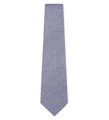 SALVATORE FERRAGAMO Linked Gancho silk tie (Blue