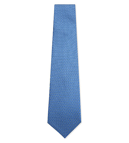 SALVATORE FERRAGAMO Two-tone Gancho silk tie (Blue