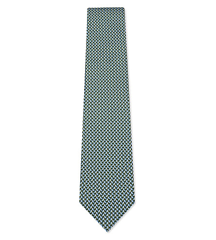 SALVATORE FERRAGAMO Swallows silk tie (Green