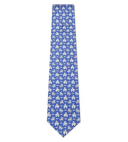 SALVATORE FERRAGAMO Elephant and horse silk tie (Blue