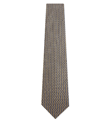 SALVATORE FERRAGAMO Tulip silk tie (Black