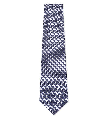 SALVATORE FERRAGAMO Crocodile silk tie (Navy