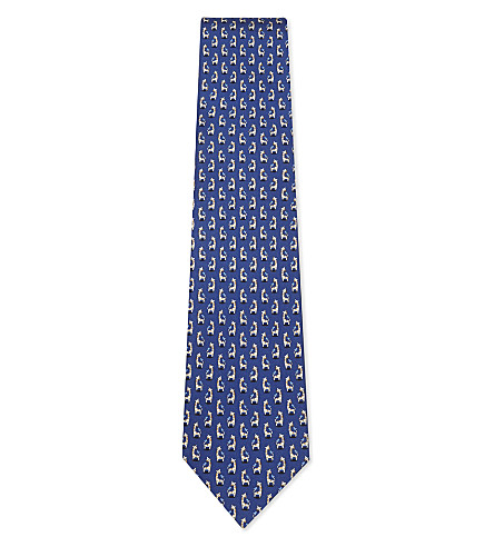 SALVATORE FERRAGAMO Giraffes silk tie (Bright+blue