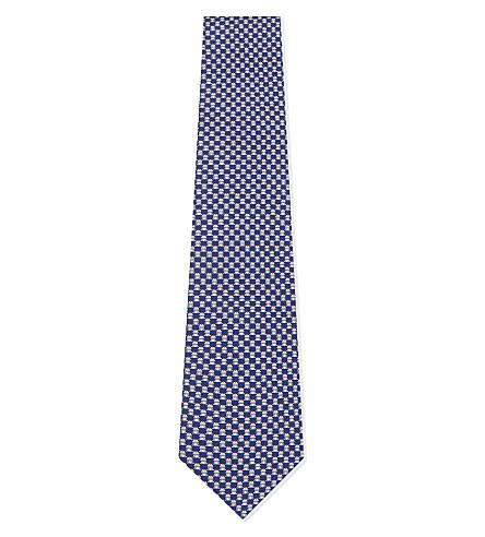 SALVATORE FERRAGAMO Frog print silk tie (F.royal/grigio