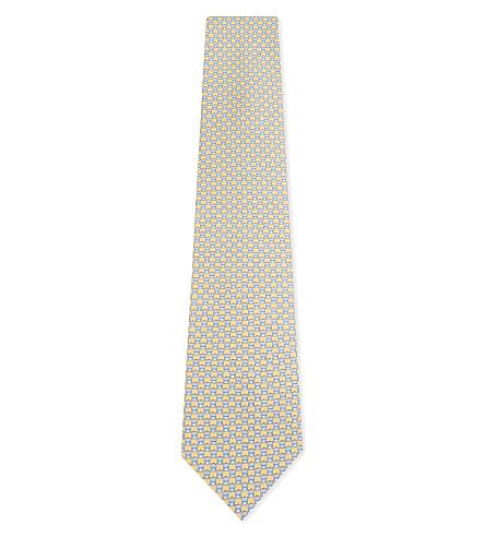SALVATORE FERRAGAMO Frog silk tie (F.giallo/azzurro