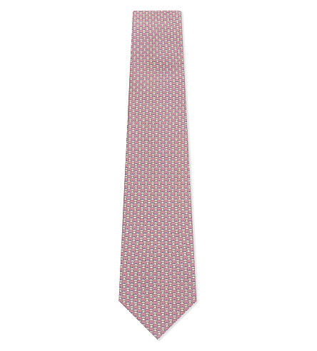 SALVATORE FERRAGAMO Frog print silk tie (F.rosa/beige