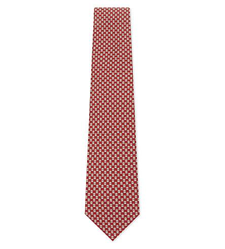 SALVATORE FERRAGAMO Frog print silk tie (F.rosso/beige
