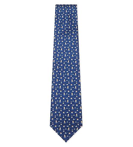 SALVATORE FERRAGAMO Penguin on ice silk tie (Bright+blue