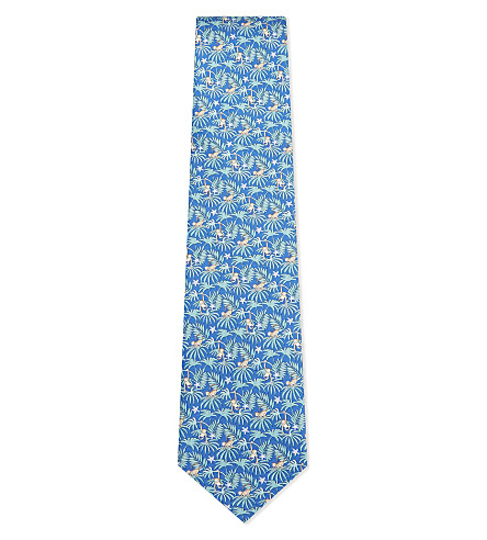 SALVATORE FERRAGAMO Monkey and palm tree silk tie (Bright+blue