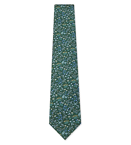 SALVATORE FERRAGAMO Pelican and flower silk tie (Green