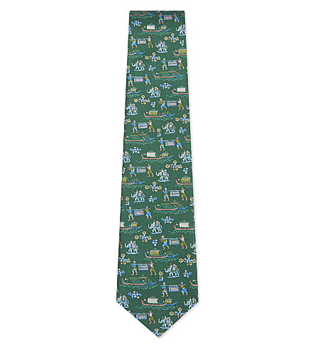 SALVATORE FERRAGAMO Indian boat and elephant silk tie (Green
