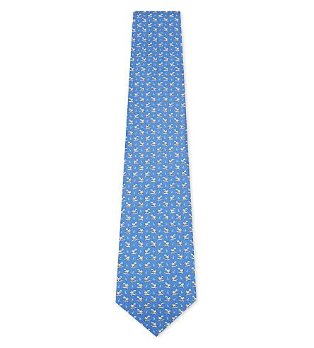 SALVATORE FERRAGAMO Surfing turtle silk tie (Blue