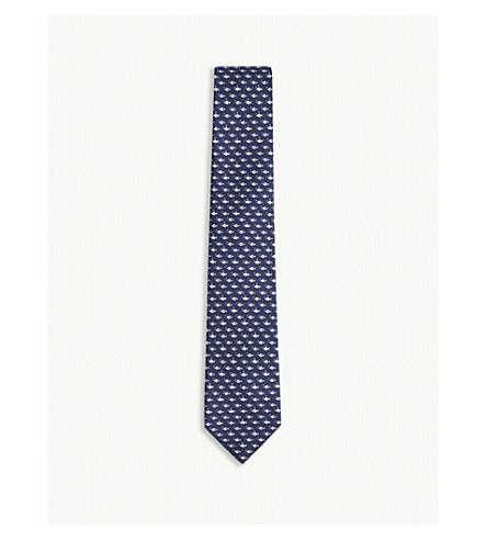 SALVATORE FERRAGAMO Fish-print silk tie (Azzurro