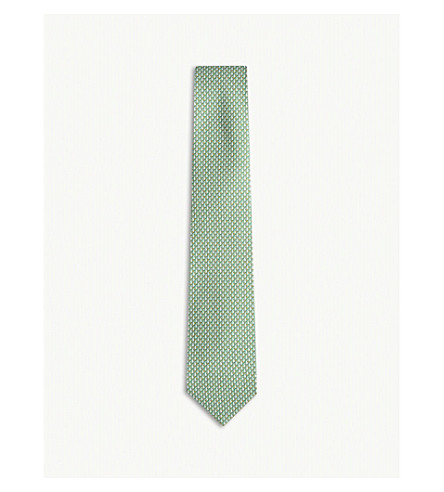SALVATORE FERRAGAMO Sailboat printed silk twill tie (Green
