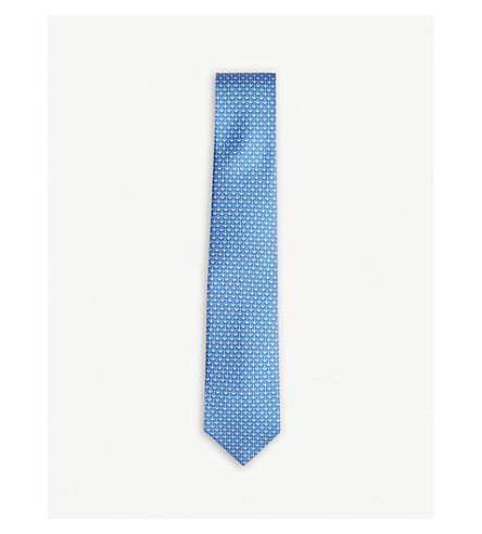 SALVATORE FERRAGAMO Anchor silk tie (Light+blue