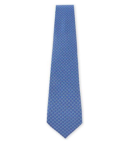 SALVATORE FERRAGAMO Multi Gancio silk tie (Light+blue