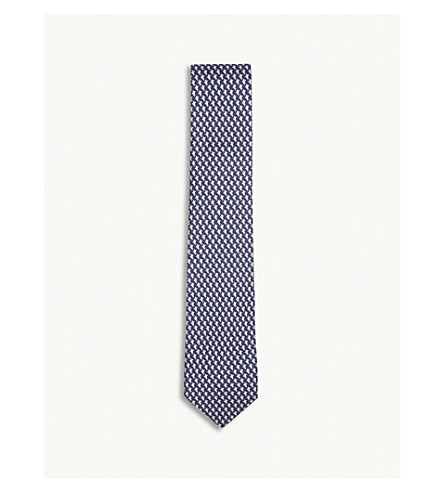 SALVATORE FERRAGAMO King shark silk tie (Blue