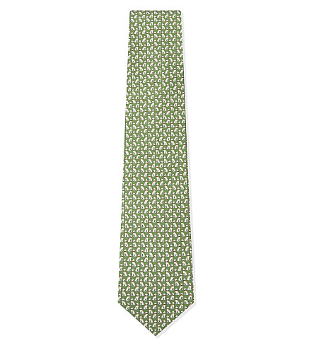 SALVATORE FERRAGAMO Dog silk tie (Green