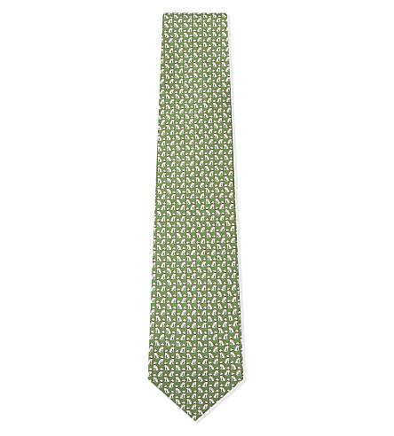 SALVATORE FERRAGAMO 狗真丝领带 (绿色