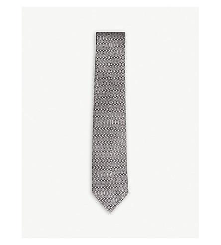 SALVATORE FERRAGAMO Mirrored Gancio silk tie (Black