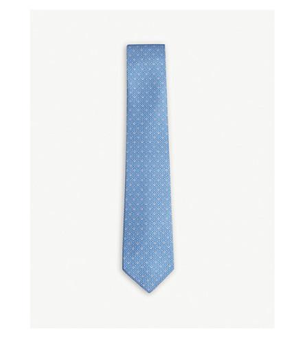 SALVATORE FERRAGAMO Mirrored Gancio silk tie (Light+blue