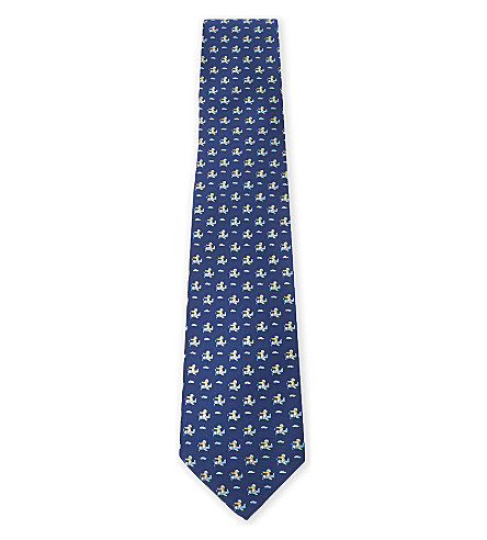 SALVATORE FERRAGAMO Crocodile on plane silk tie (Navy