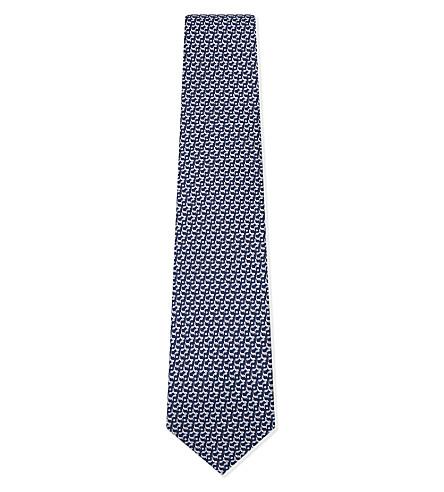 SALVATORE FERRAGAMO Golf club silk tie (Navy