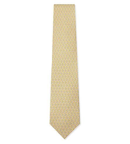 SALVATORE FERRAGAMO 高尔夫俱乐部真丝领带 (黄色